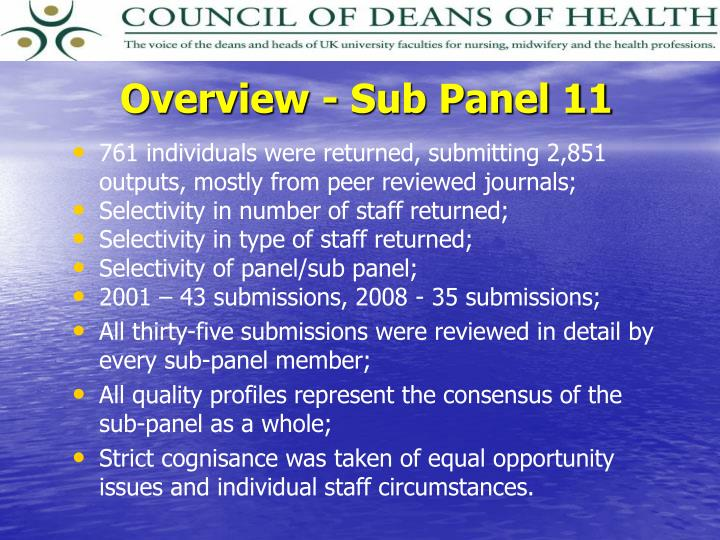 Overview - Sub Panel 11