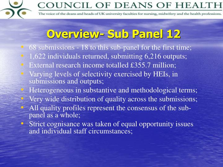 Overview- Sub Panel 12