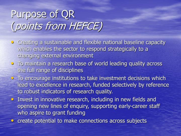 Purpose of QR