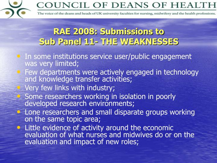 RAE 2008: Submissions to