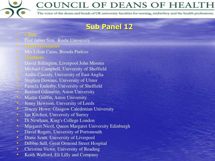 Sub Panel 12