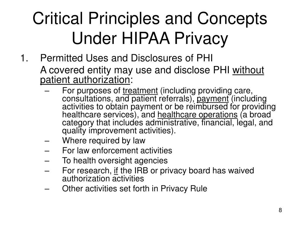 Critical Principles and Concepts Under HIPAA Privacy
