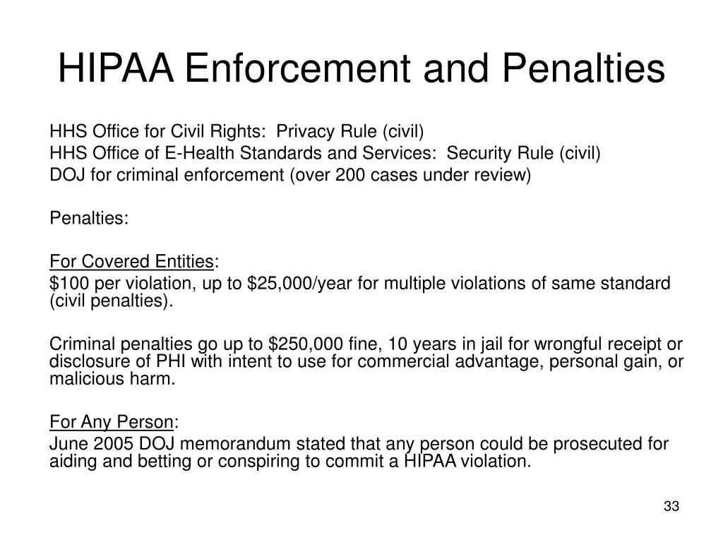 HIPAA Enforcement and Penalties