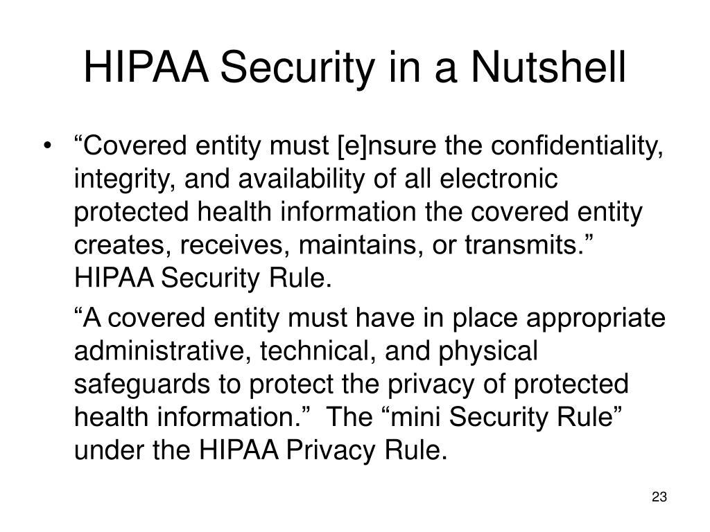 HIPAA Security in a Nutshell