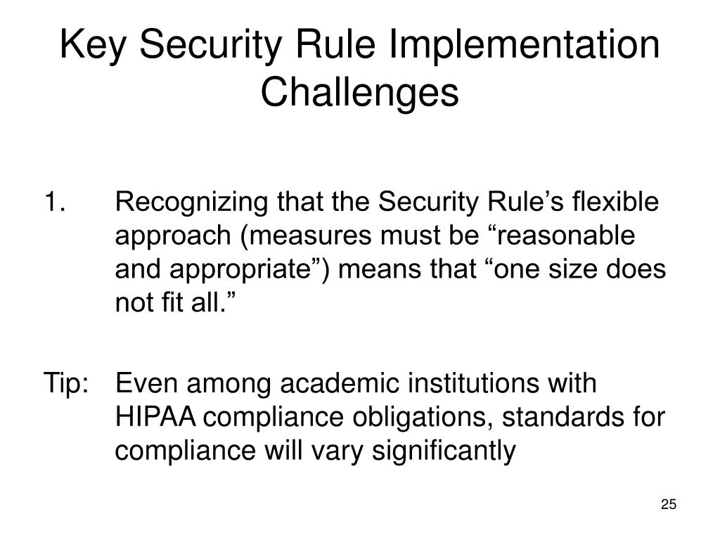 Key Security Rule Implementation Challenges