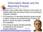 information needs and the reporting process29