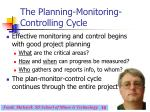 the planning monitoring controlling cycle