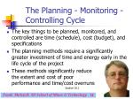 the planning monitoring controlling cycle11
