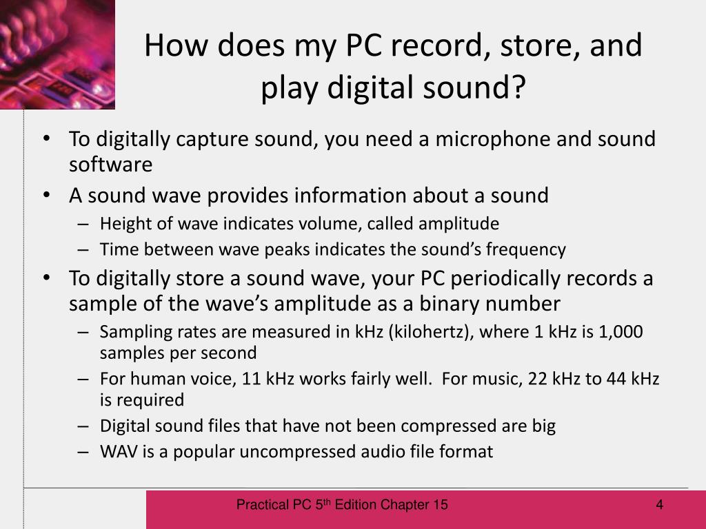 How does my PC record, store, and play digital sound?