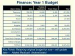 finance year 1 budget