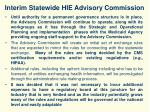 interim statewide hie advisory commission