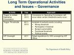 long term operational activities and issues governance