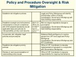 policy and procedure oversight risk mitigation