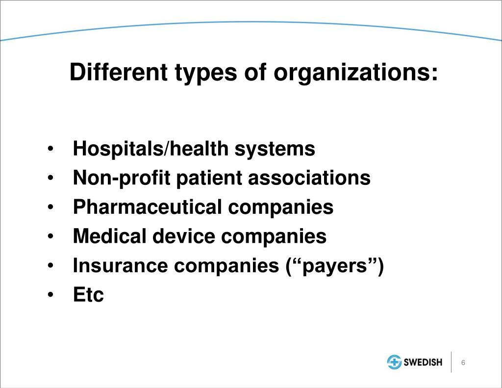 Different types of organizations: