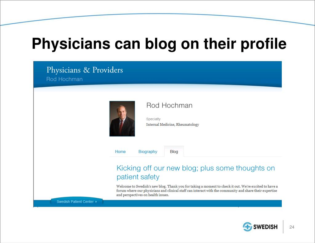Physicians can blog on their profile