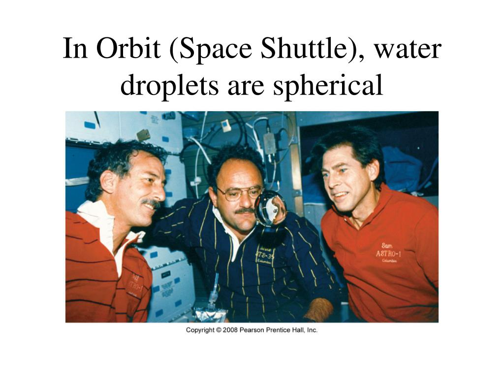 In Orbit (Space Shuttle), water droplets are spherical