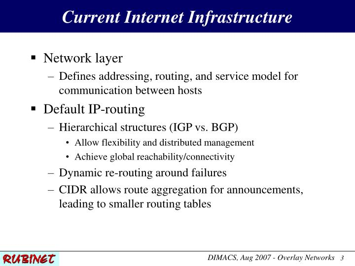 Current internet infrastructure