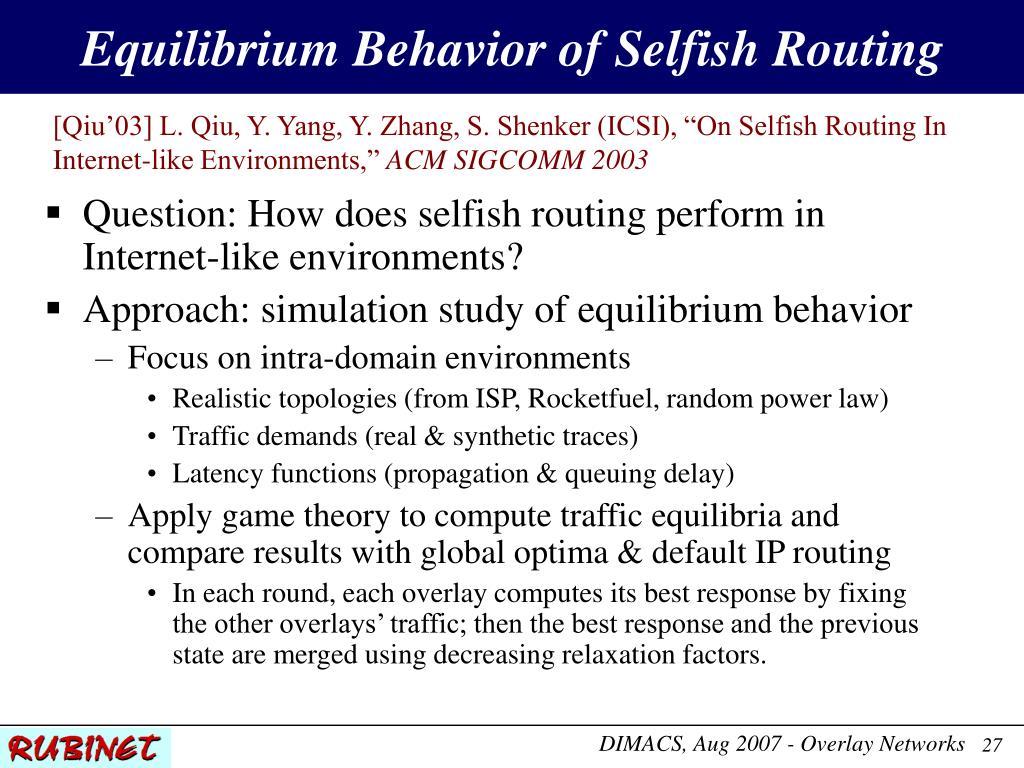 Equilibrium Behavior of Selfish Routing