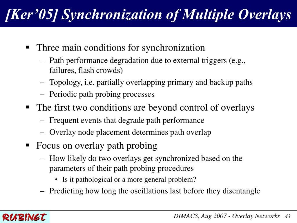 [Ker'05] Synchronization of Multiple Overlays