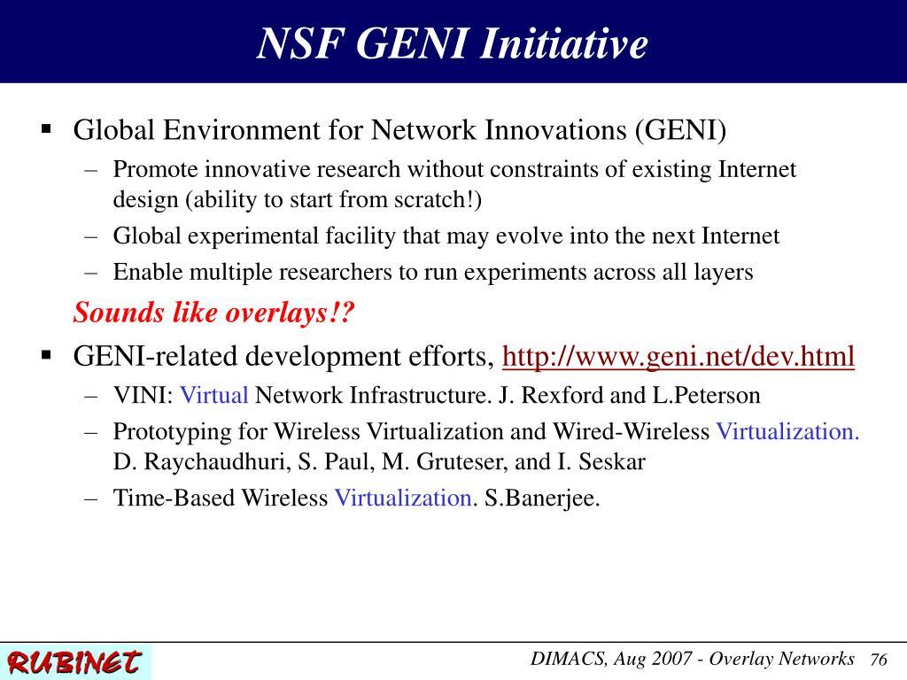 NSF GENI Initiative