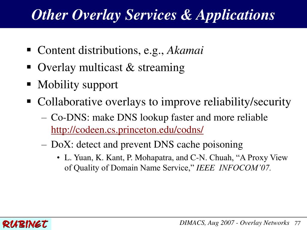 Other Overlay Services & Applications