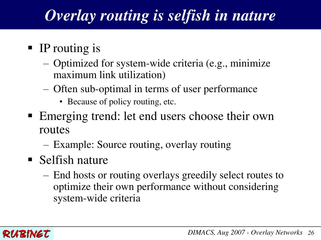 Overlay routing is selfish in nature