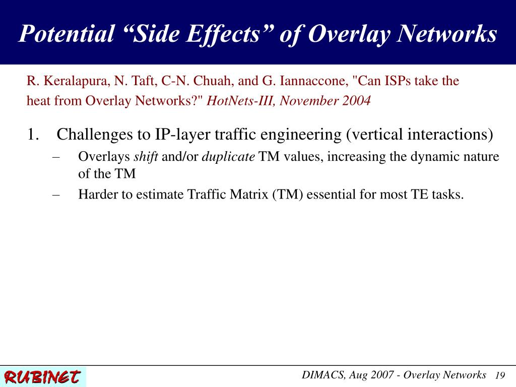 """Potential """"Side Effects"""" of Overlay Networks"""