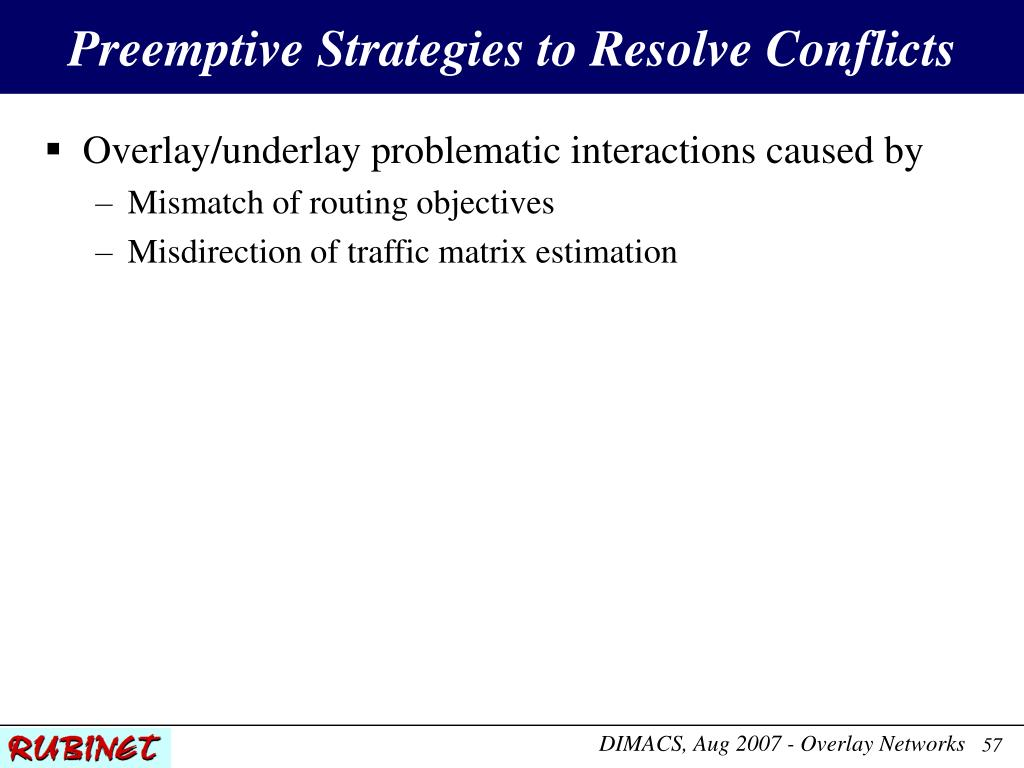Preemptive Strategies to Resolve Conflicts