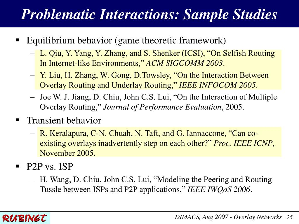 Problematic Interactions: Sample Studies