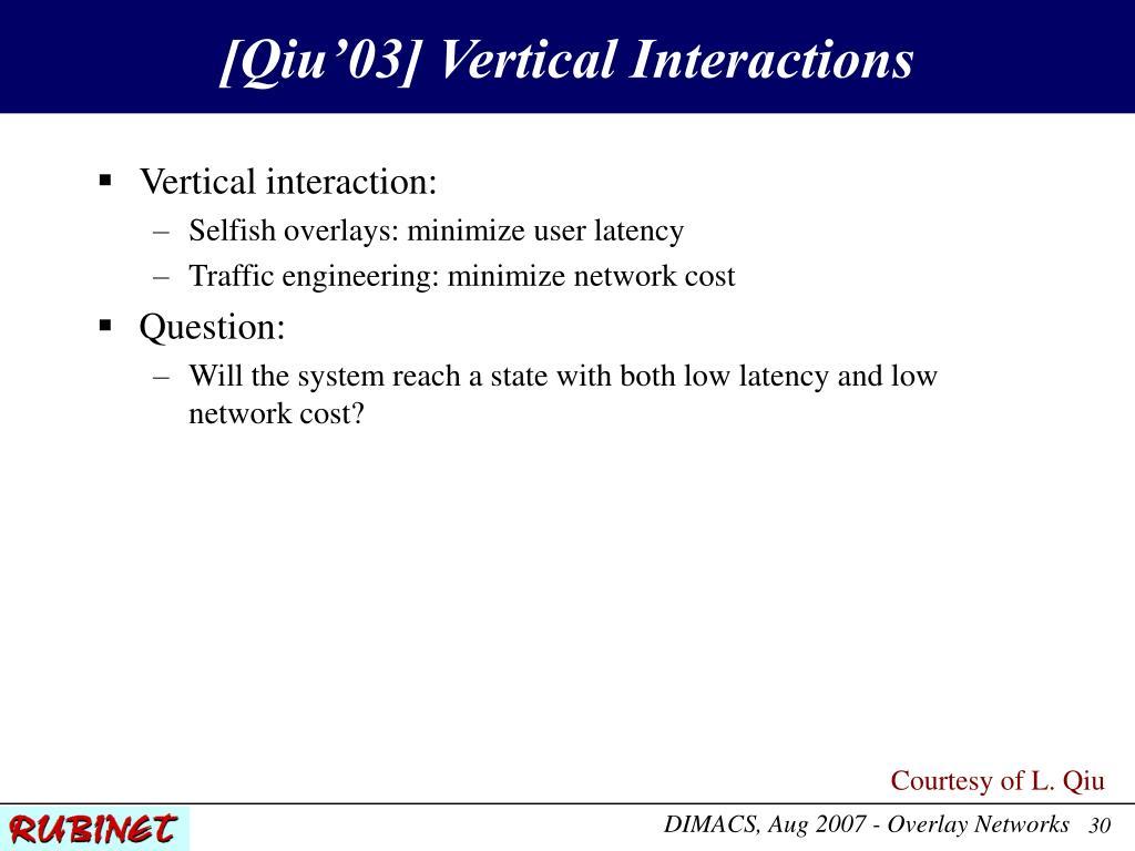 [Qiu'03] Vertical Interactions