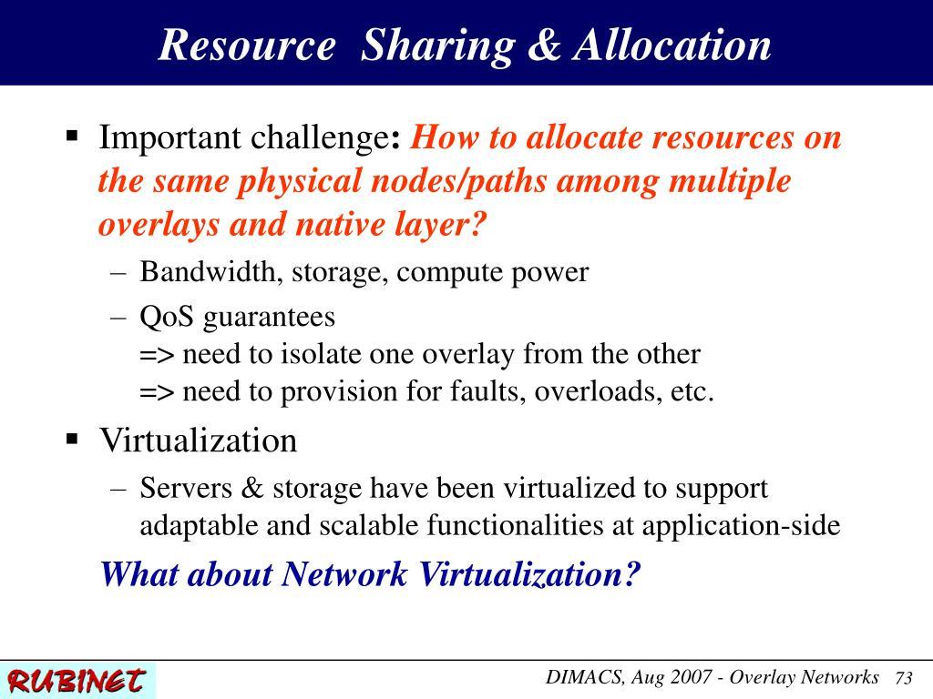 Resource  Sharing & Allocation