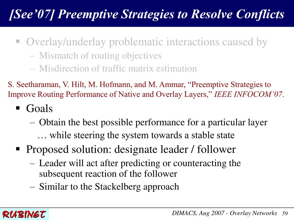 [See'07] Preemptive Strategies to Resolve Conflicts