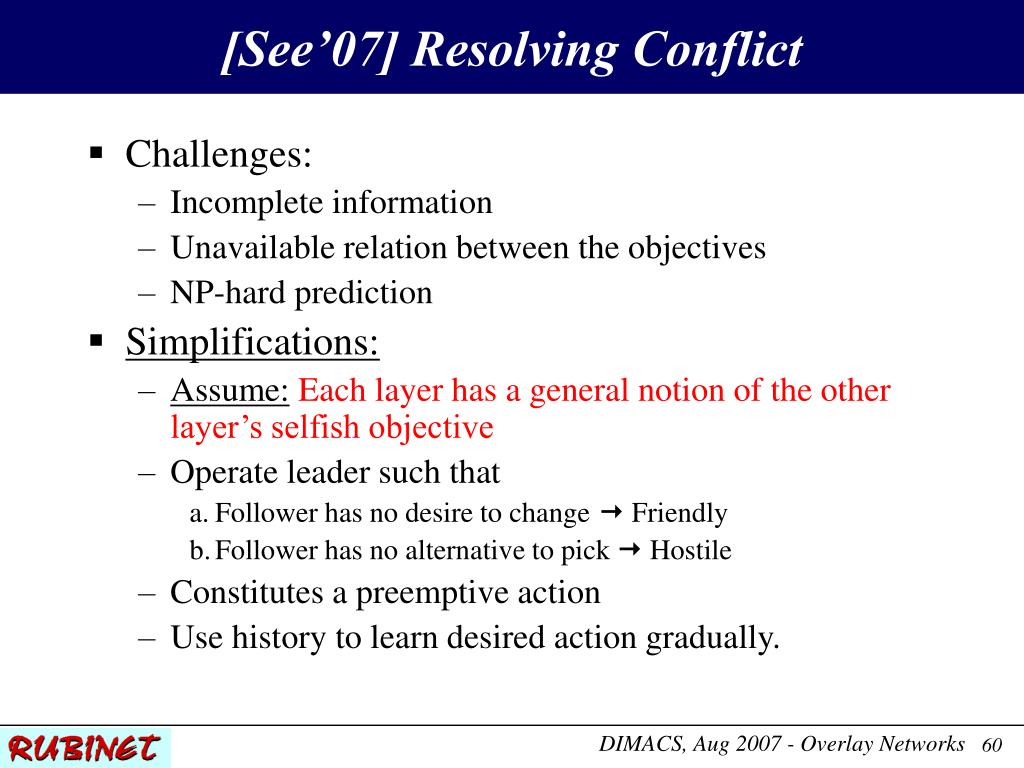 [See'07] Resolving Conflict
