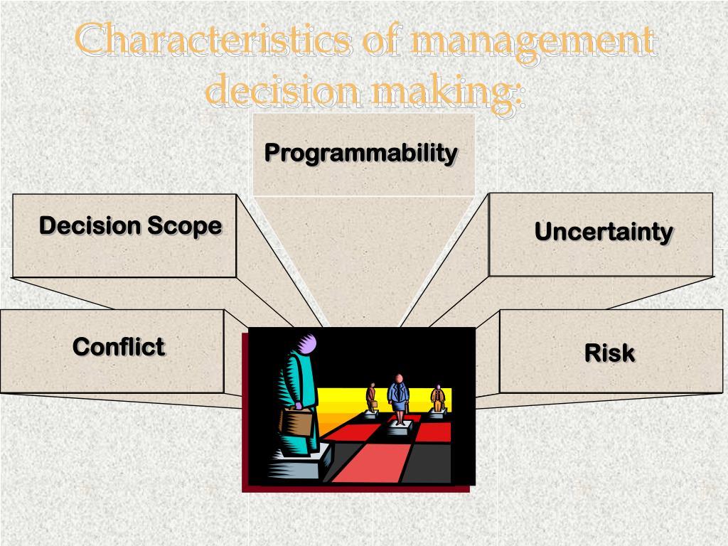 Characteristics of management decision making: