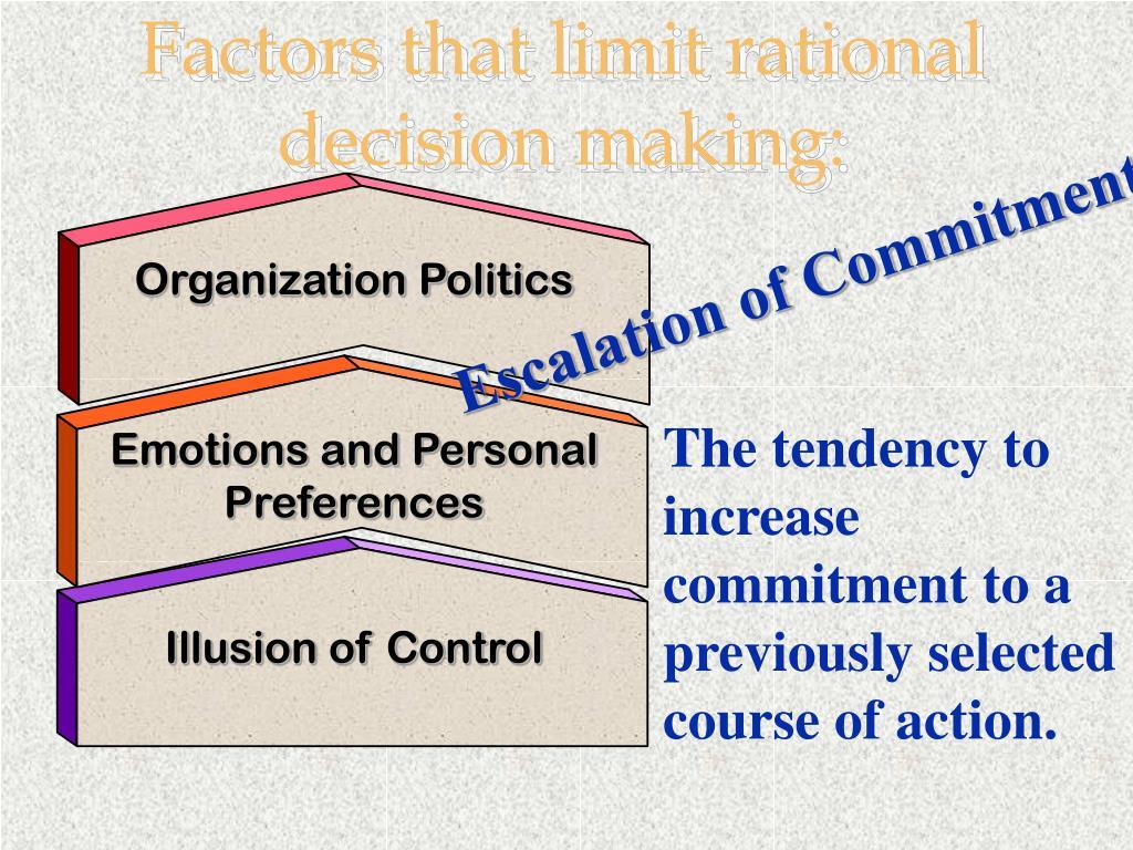 Factors that limit rational decision making: