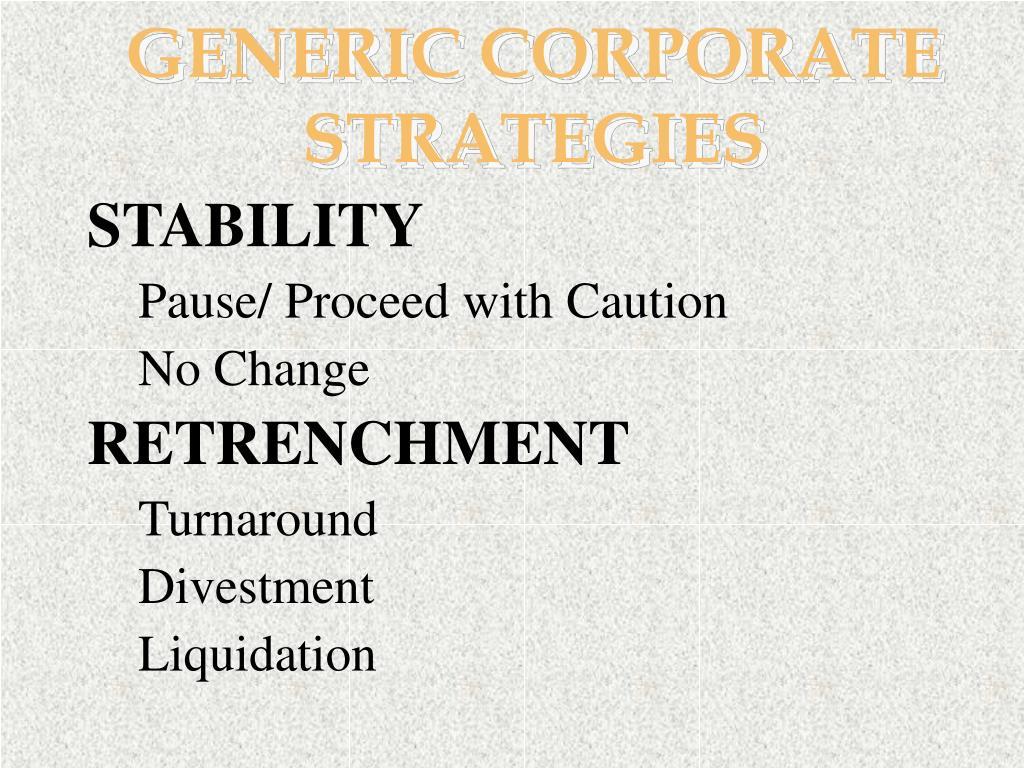 GENERIC CORPORATE STRATEGIES