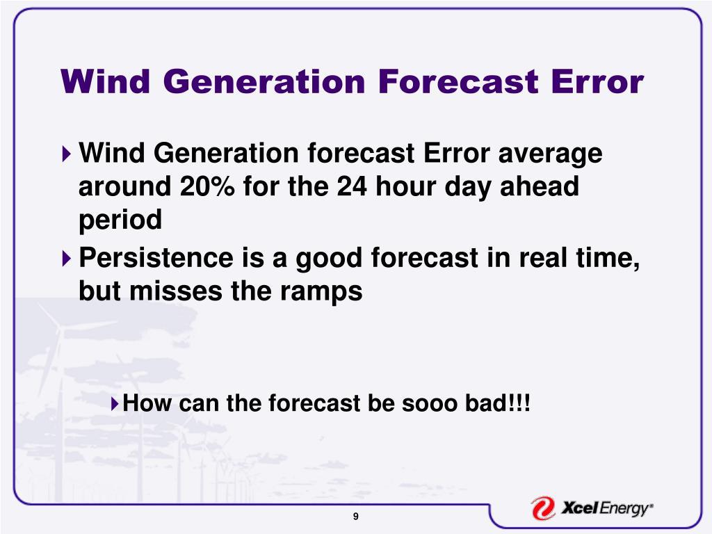 Wind Generation Forecast Error