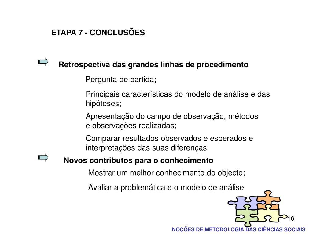 ETAPA 7 - CONCLUSÕES