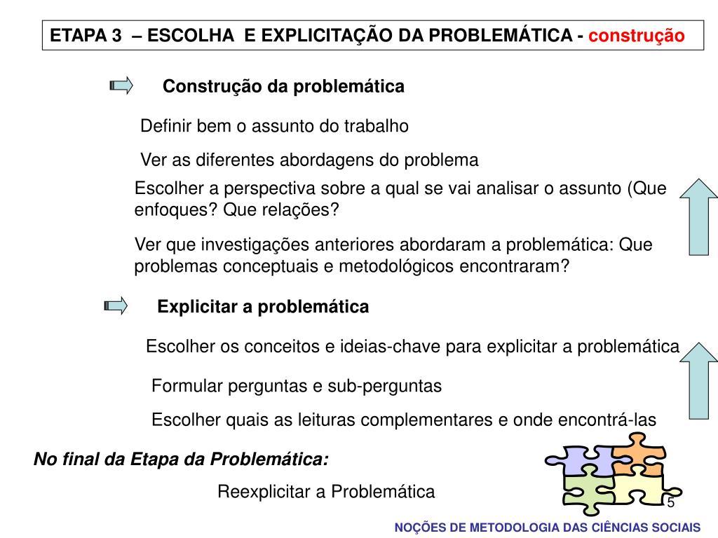 ETAPA 3  – ESCOLHA  E EXPLICITAÇÃO DA PROBLEMÁTICA -