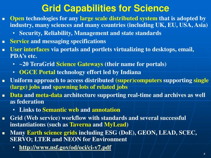 Grid Capabilities for Science