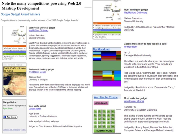Note the many competitions powering Web 2.0