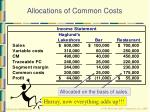 allocations of common costs30