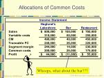 allocations of common costs31