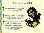 criticisms of roi