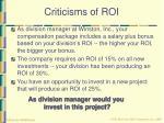 criticisms of roi43