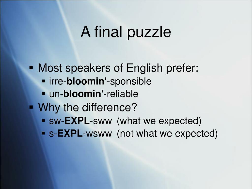 A final puzzle