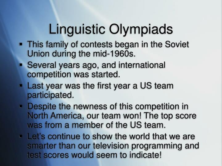 Linguistic olympiads