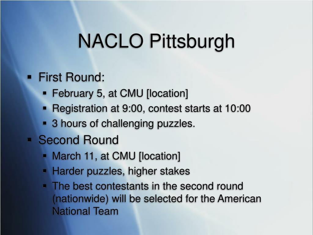 NACLO Pittsburgh