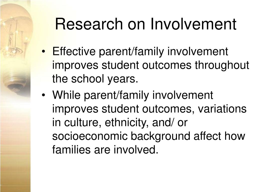 research paper on parental involvement in education The effects of parental involvement on the college part of thehigher education though existing research identified that parental involvement is more.