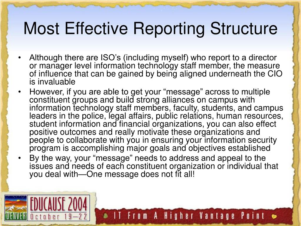 Most Effective Reporting Structure